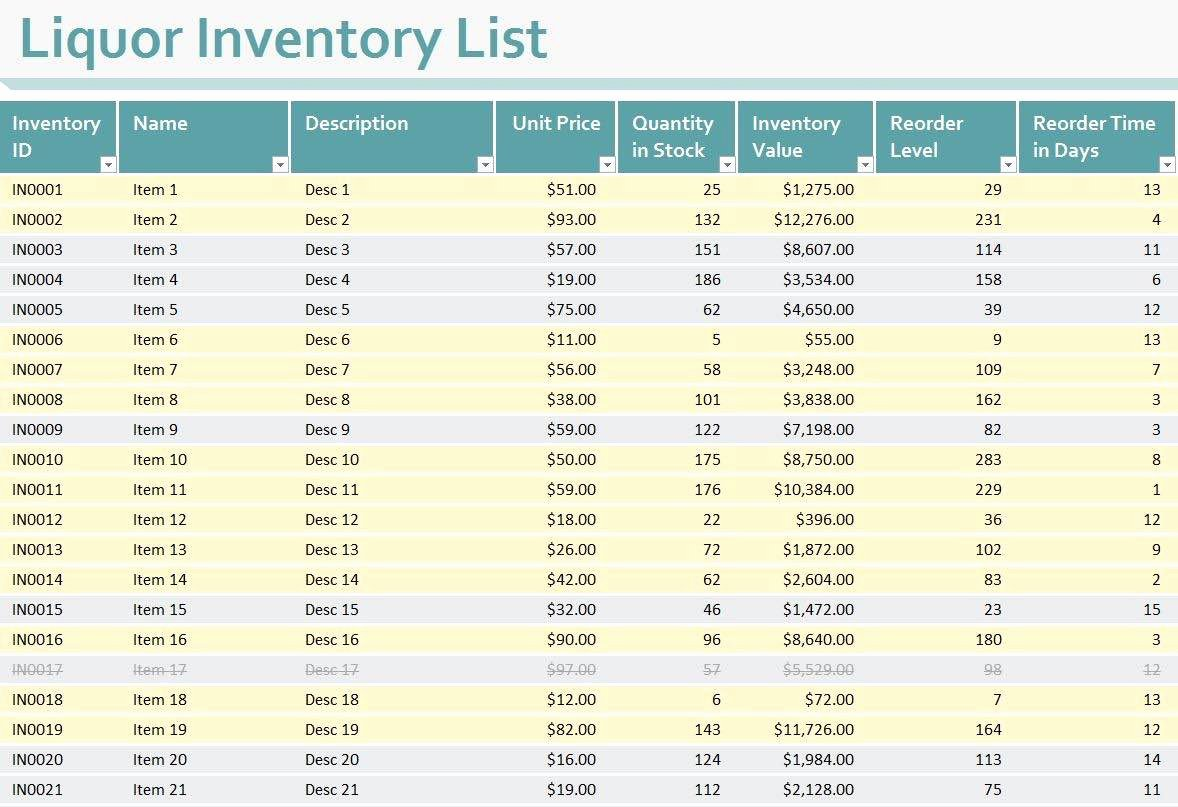 Free Inventory Spreadsheet Template Awesome Free Liquor Inventory Spreadsheet Template Excel
