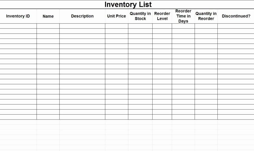 Free Inventory Spreadsheet Templates Fresh Free Printable Inventory Sheets Spreadsheet Templates