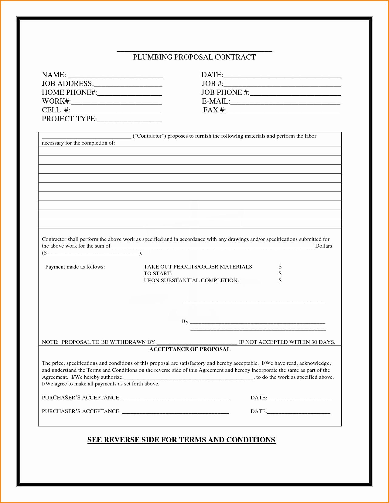 Free Job Proposal Templates New Plumbing Bid Proposal Template