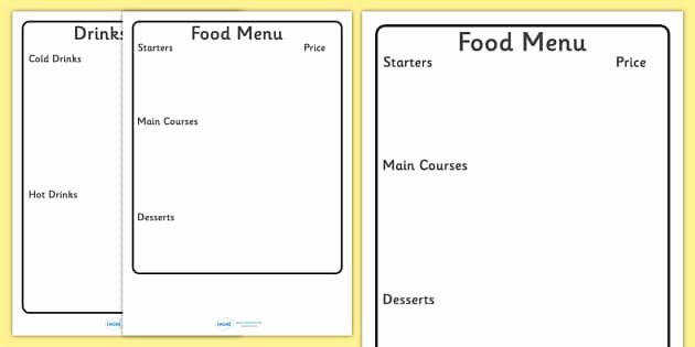 Free Kids Menu Template Awesome Editable Menu Writing Frame Editable Editable Menu