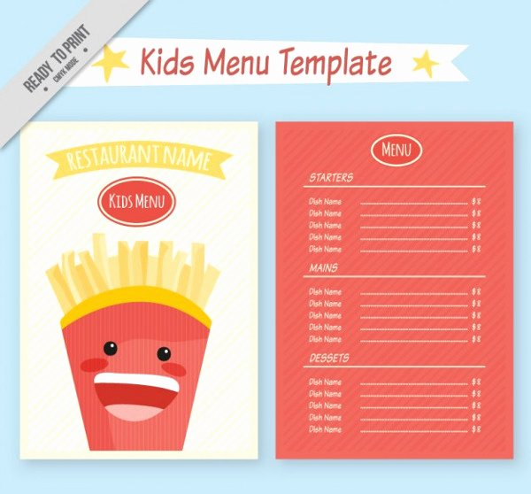 Free Kids Menu Template Awesome Kids Menu Template 27 Free & Premium Download