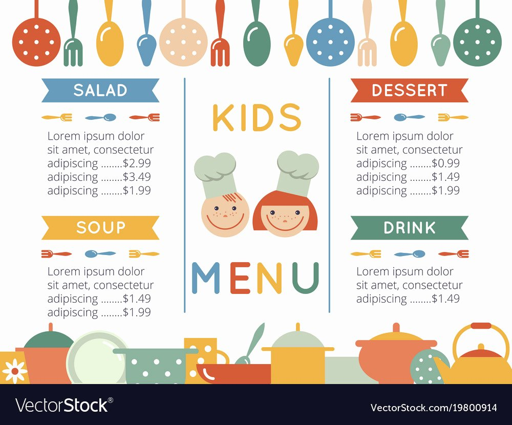 Free Kids Menu Template Awesome Kids Menu Template Royalty Free Vector Image Vectorstock