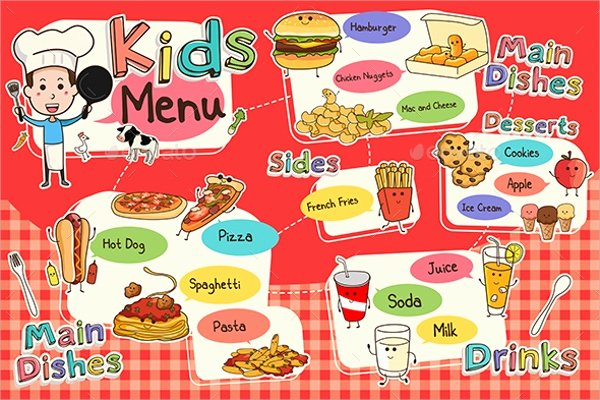 Free Kids Menu Template Awesome Sample Kids Menu Template 19 Download Documents In Psd Pdf
