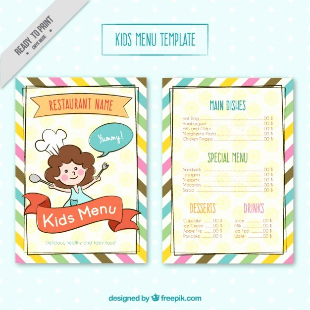 Free Kids Menu Template Beautiful Kids Menu Template with Colores Stripes Vector