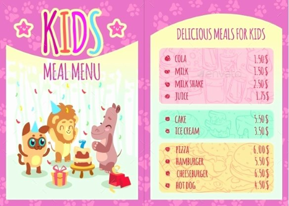 Free Kids Menu Template Beautiful Kids Menu Templates – 26 Free Psd Eps Documents Download