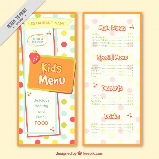 Free Kids Menu Template Best Of Dotted Kids Menu Template Vector