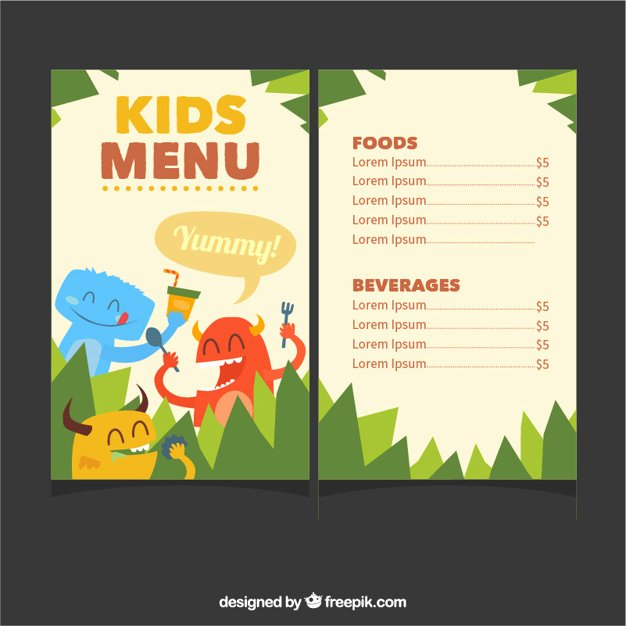 Free Kids Menu Template Elegant Kids Menu Template with Cute Monsters Vector