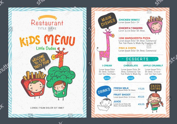 Free Kids Menu Template Elegant Printable Kids Menu Template 27 Free & Premium Download