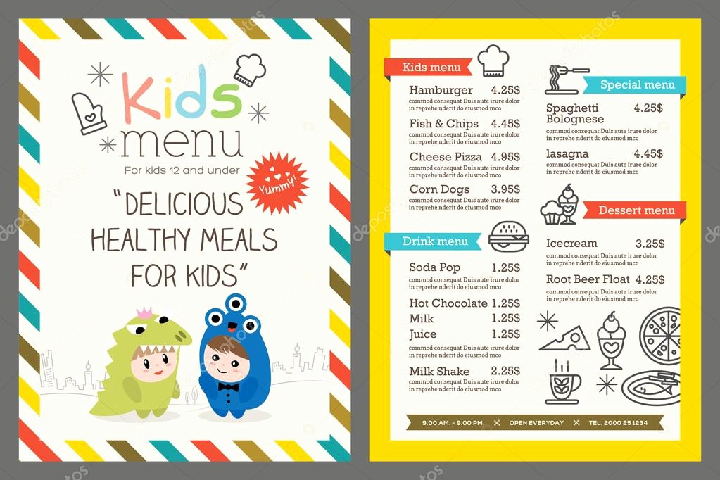 Free Kids Menu Template Inspirational Kids Menu Vector Template — Stock Vector © Kraphix