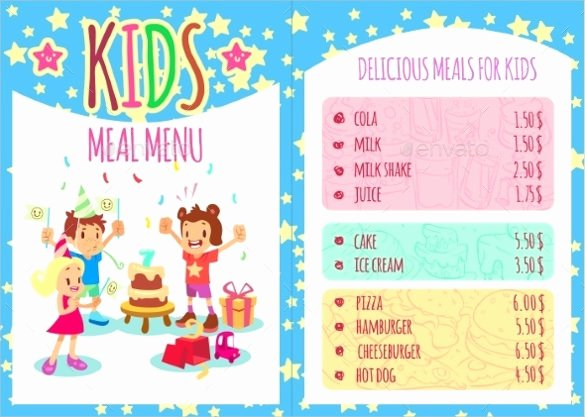 Free Kids Menu Template Lovely 21 Birthday Menu Templates Psd Eps Indesign