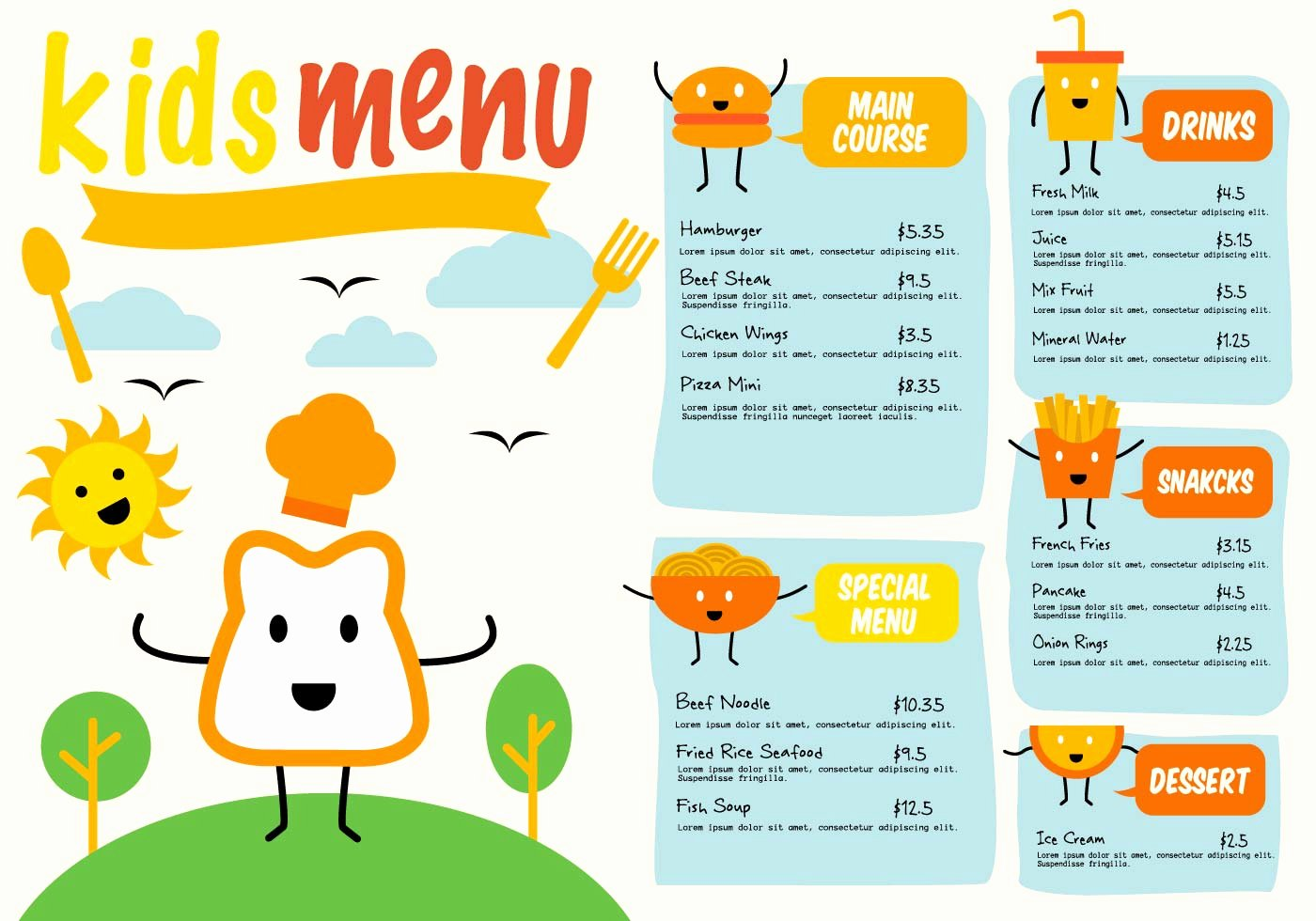 Free Kids Menu Template Lovely Free Template Kids Menu Vector Download Free Vectors