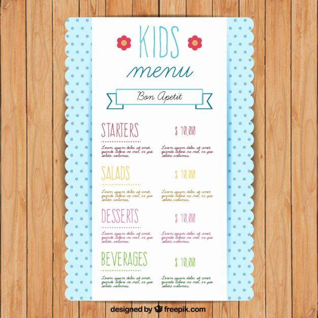 Free Kids Menu Template Luxury Cute Kids Menu Template with Dots Vector