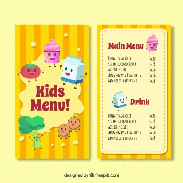 Free Kids Menu Template New Kid S Menu Template with Happy Ingre Nts Vector