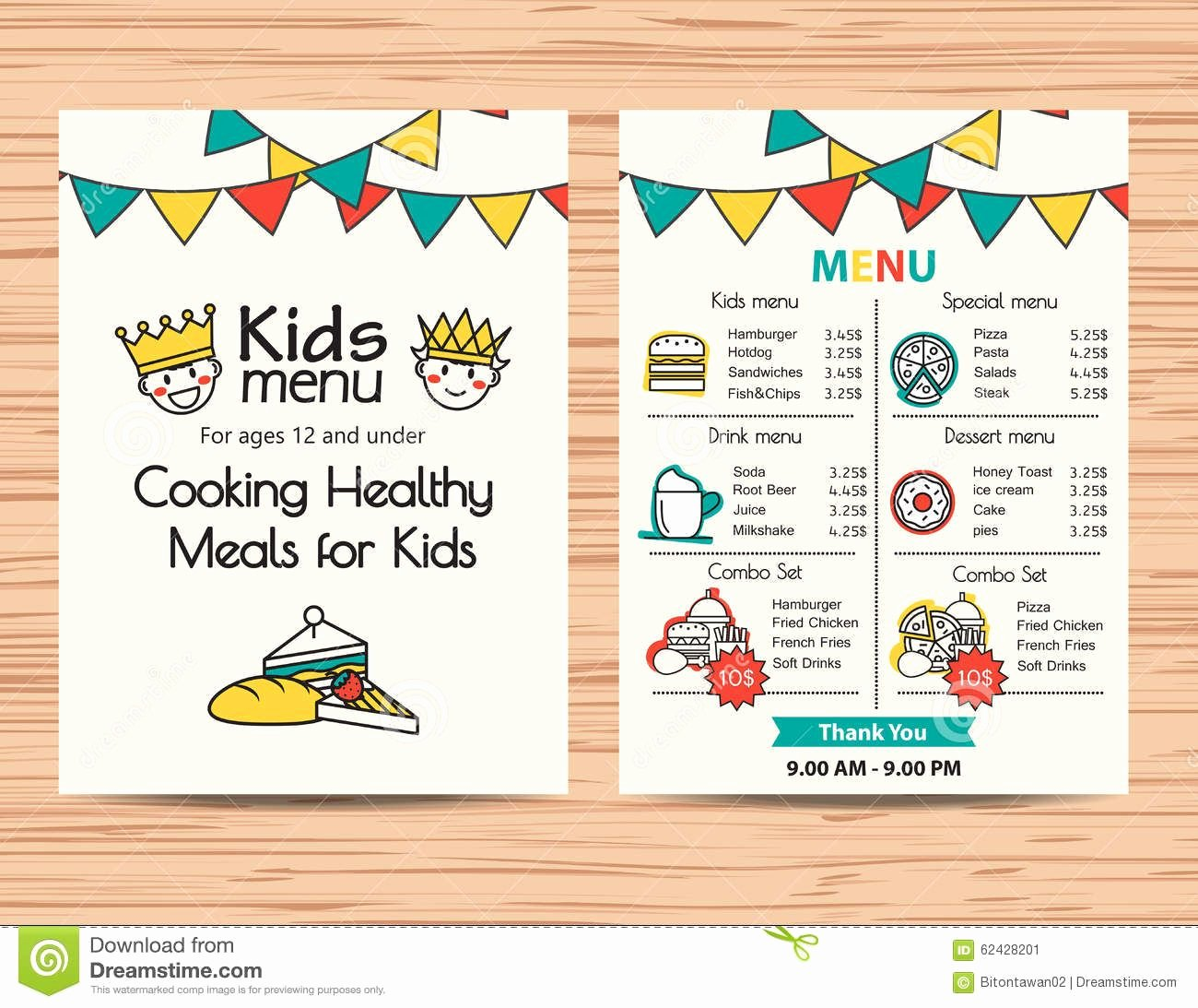 Free Kids Menu Template New Kids Meal Menu Vector Template Restaurant Menu Design