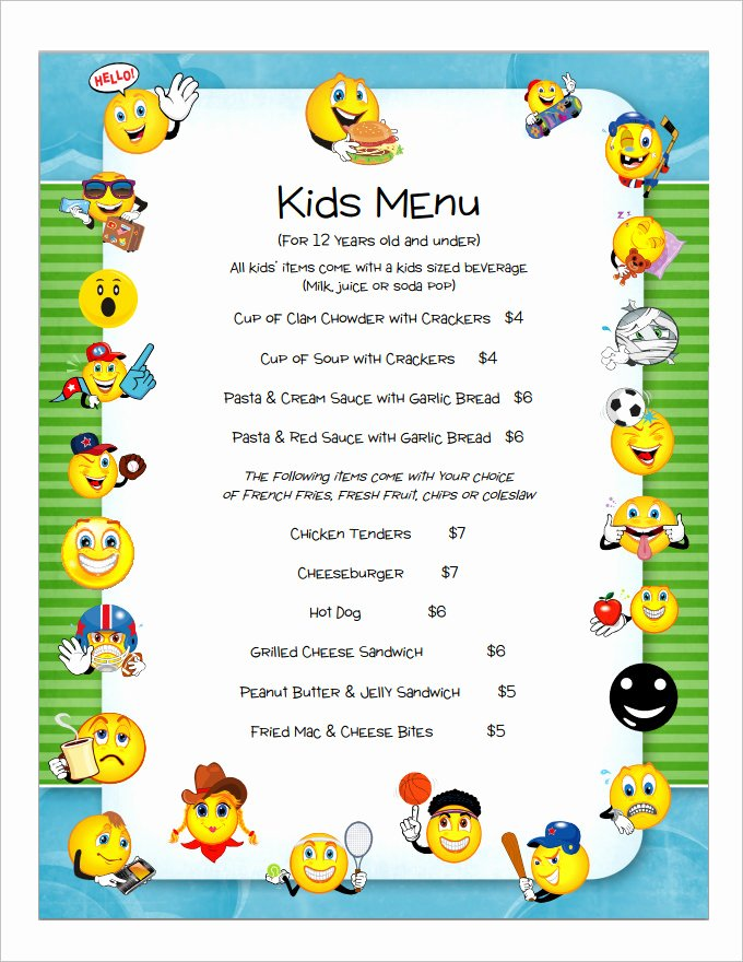 Free Kids Menu Template New Kids Menu Templates – 26 Free Psd Eps Documents Download