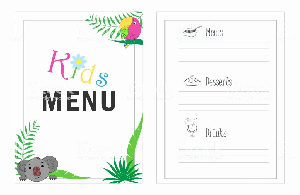 Free Kids Menu Template Unique Childrens Menu Template Cafe Menu Design for Kids Kid Menu