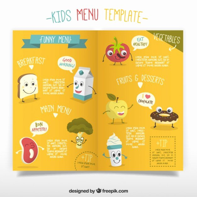 Free Kids Menu Template Unique Kids Menu Template with Enjoyable Foodstuffs Vector