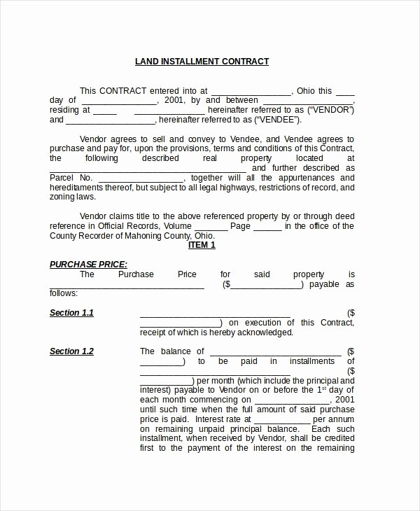 Free Land Contract Template Awesome Free 8 Sample Land Contract forms In Pdf