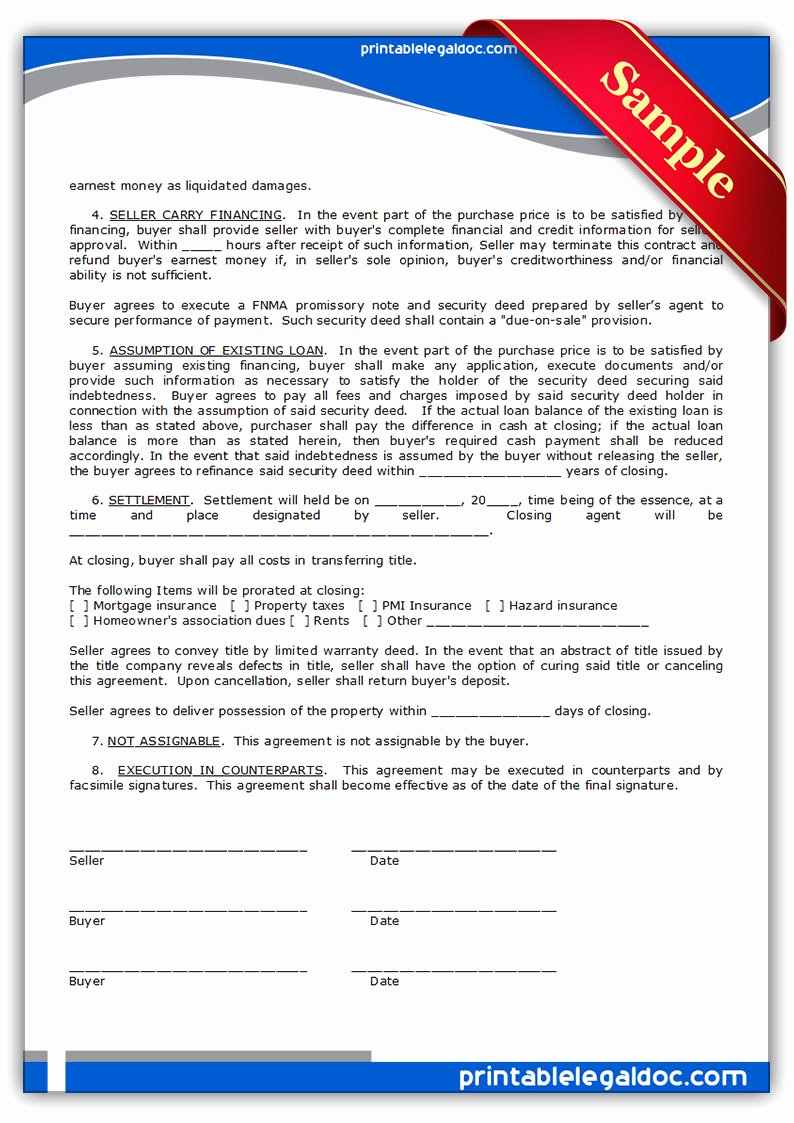 Free Land Contract Template Elegant Free Printable Contract to Sell Land Contract form
