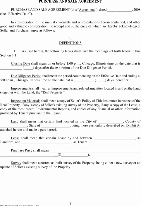 Free Land Contract Template Fresh Land Purchase and Sale Agreement