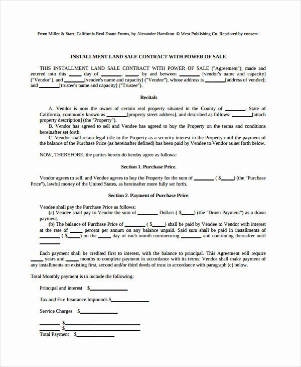 Free Land Contract Template Lovely 8 Land Contract forms Free Sample Example format