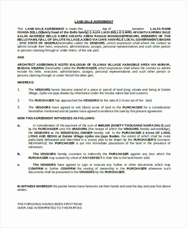 Free Land Contract Template Luxury 9 Land Contract Templates Free Sample Example format