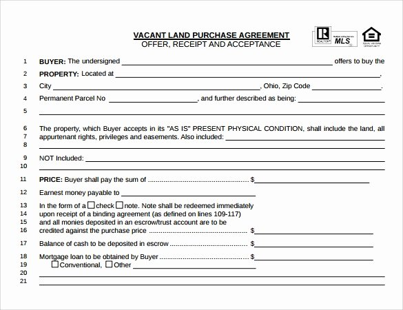Free Land Contract Template New Land Purchase Agreement Template 17 Download Free