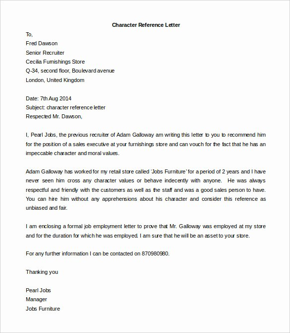 Free Letter Of Recommendation Template Awesome Character Reference Letter for Landlord Template