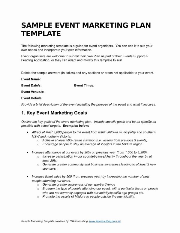 Free Marketing Plan Template Word Lovely Free 14 event Marketing Plan Template In Pdf