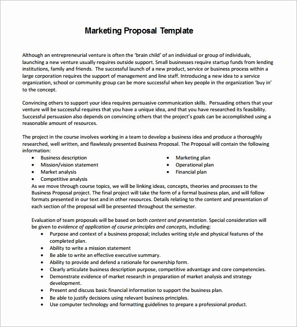 Free Marketing Proposal Template Beautiful Marketing Proposal Template 34 Free Sample Example