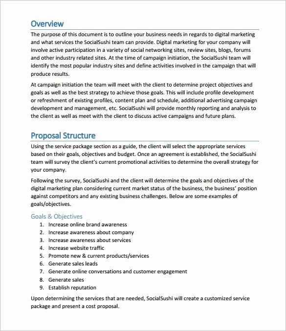 Free Marketing Proposal Template New Proposal Templates 170 Free Word Pdf format Download