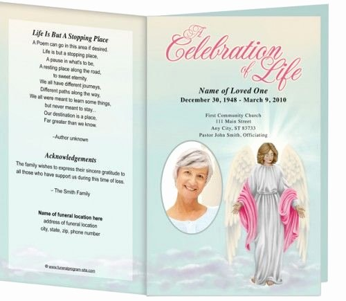 Free Memorial Cards Template Elegant Angelina Printable Funeral Program Template