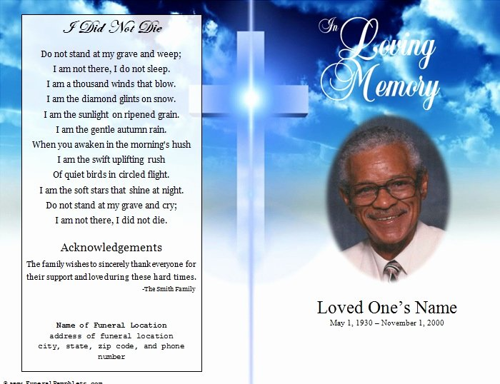Free Memorial Cards Template New Cross Single Fold Funeral Program Funeral Pamphlets