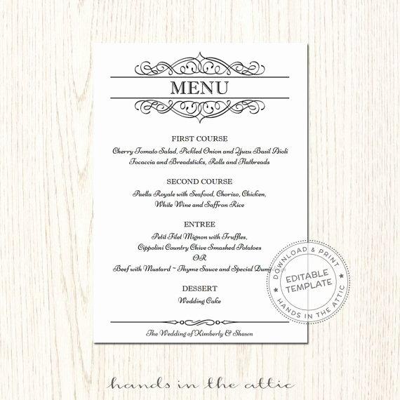 Free Menu Card Template Awesome Elegant Wedding Menu Template Editable Wedding Menu Card