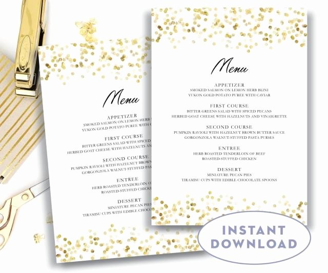 Free Menu Card Template Awesome Gold Wedding Menu Template 5x7 Editable Text Microsoft