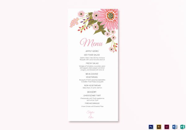Free Menu Card Template Awesome Sample Menu Card 42 Download In Psd Pdf Word