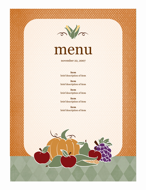 Free Menu Card Template Elegant Menu Template Word