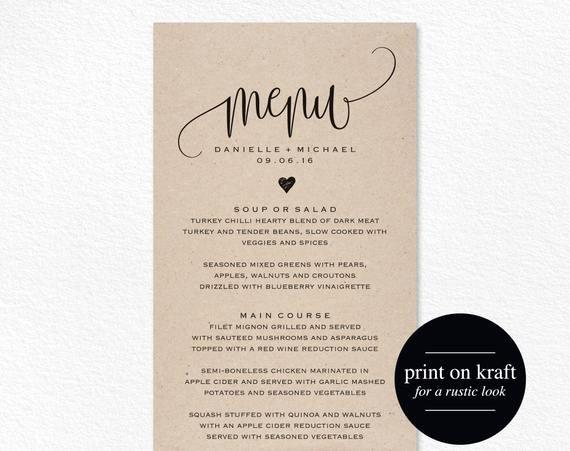 Free Menu Card Template Elegant Rustic Wedding Menu Wedding Menu Template Menu Cards Menu