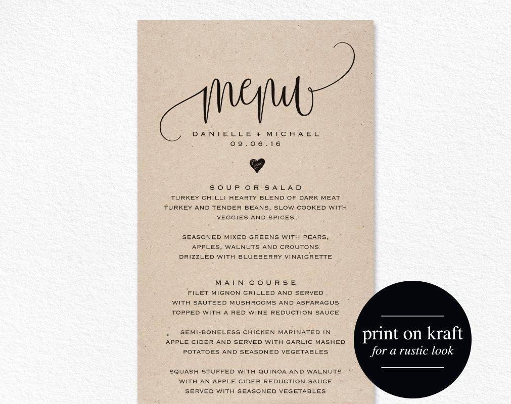 Free Menu Card Template Elegant Rustic Wedding Menu Wedding Menu Template Menu Cards