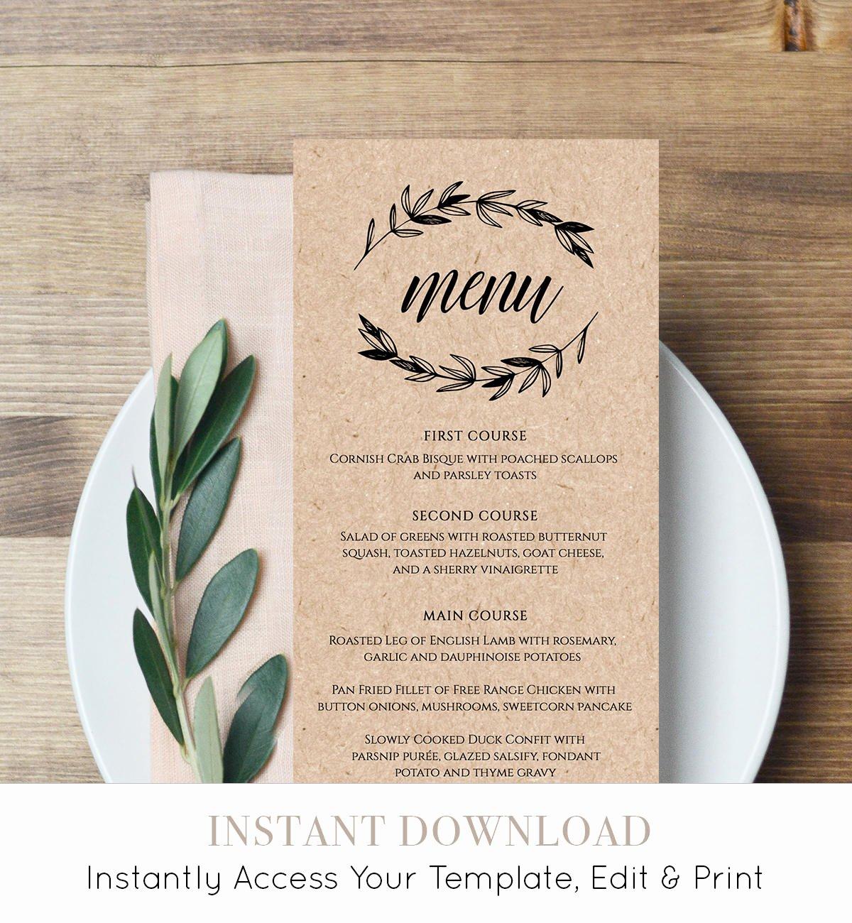 Free Menu Card Template Fresh Rustic Wedding Menu Template Printable Menu Card