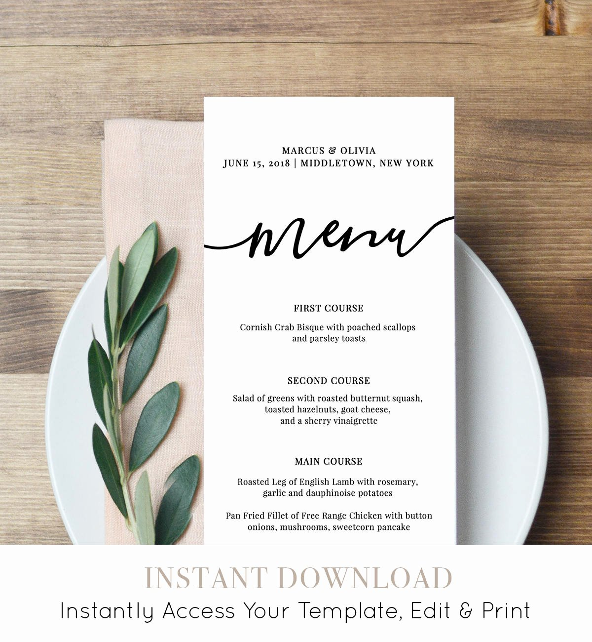 Free Menu Card Template Inspirational Menu Card Template Printable Wedding Menu Modern