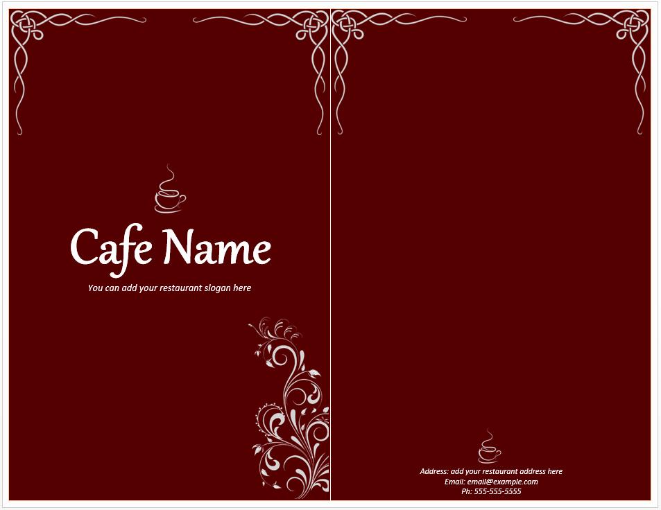 Free Menu Card Template Luxury Cafe Menu Template Free Template Downloads