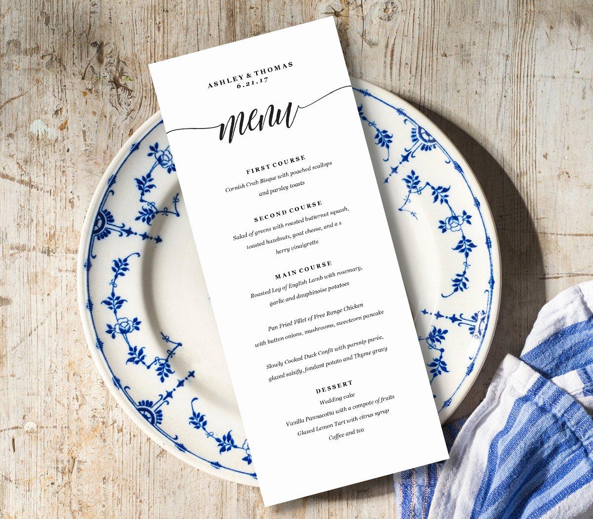 Free Menu Card Template Luxury Menu Card Template Rustic Dinner Menu Wedding Menu Card