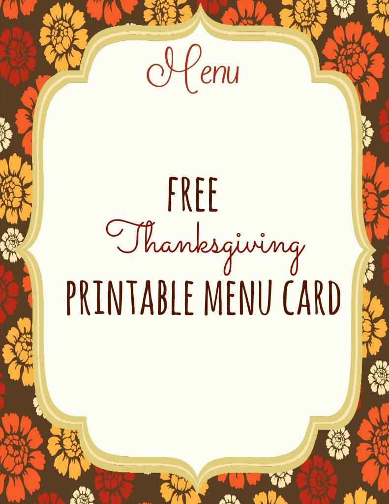 Free Menu Card Template New Free Thanksgiving Printables Frugal Fanatic