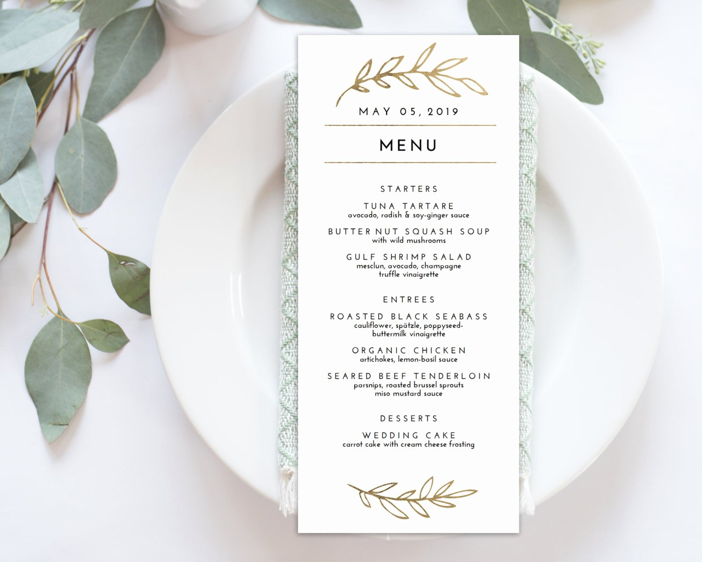 Free Menu Card Template New Wedding Menu Printable Menu Editale Template Menu