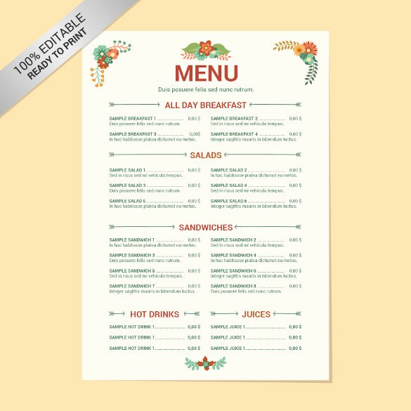 Free Menu Card Template Unique 29 Free Menu Templates – Free Sample Example format
