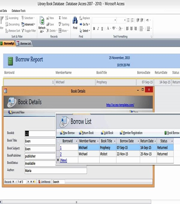 Free Microsoft Access Templates Lovely Ms Access Templates Book Library Database Examples