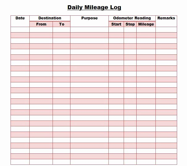 Free Mileage Log Template Elegant 30 Printable Mileage Log Templates Free Template Lab