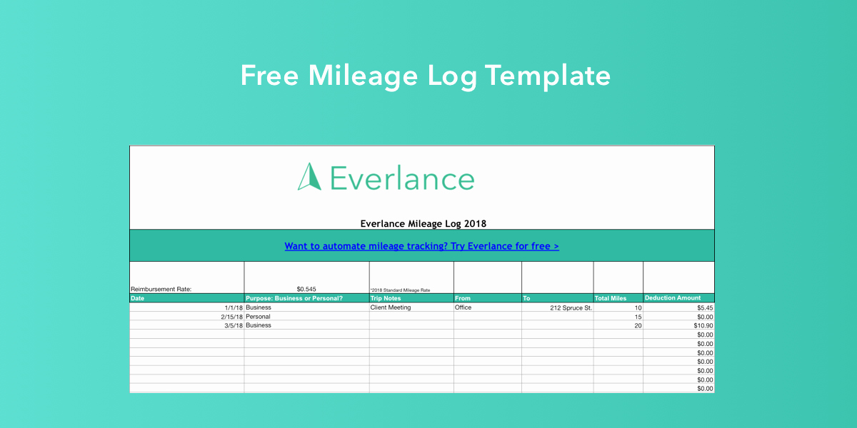 Free Mileage Log Template Fresh Free Mileage Log Template for Excel Everlance Blog
