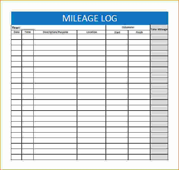 Free Mileage Log Template Fresh Printable Mileage Log